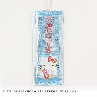 81号ハローキティ交通安全守(リボン花束キラキラ) 白/ブルーラメ