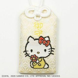72号ハローキティ御守(オスワリ) 白/黄