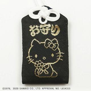 72号ハローキティ黒御守(オスワリ) 黒/金