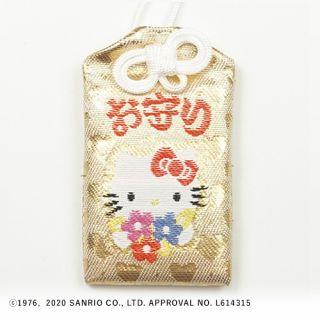 72号ハローキティ御守(リボン花束・キラキラ) 白/金