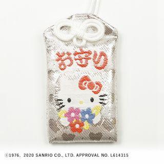 72号ハローキティ御守(リボン花束・キラキラ) 白/銀
